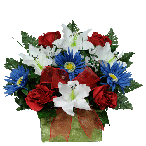 Flowers for cemeteries inc for Red white blue flower arrangements